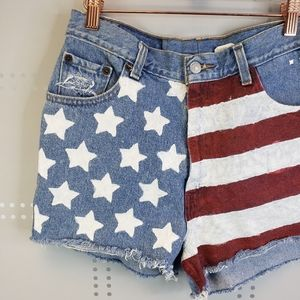 Levi's Patriotic Distressed Denim Shorts